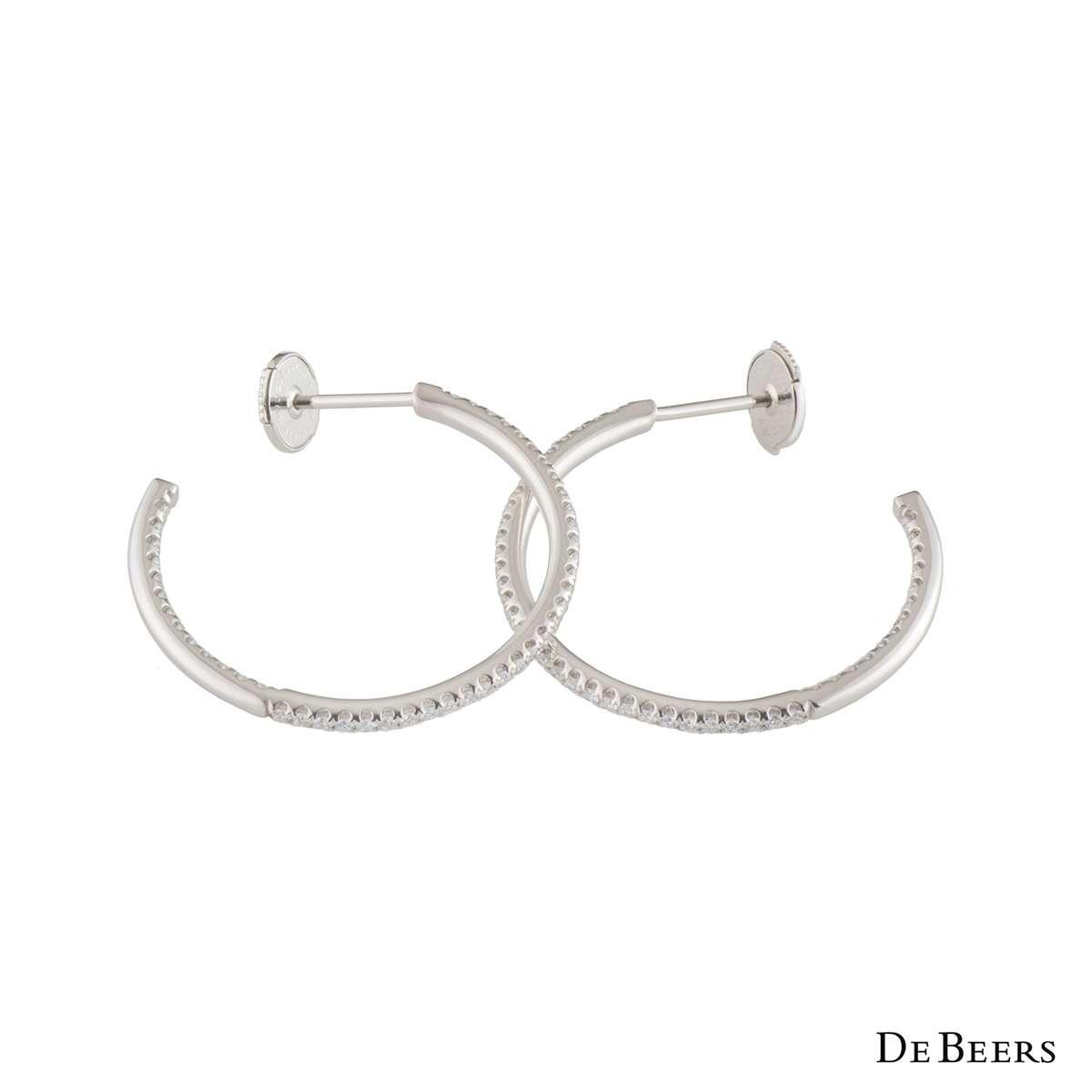 De Beers White Gold Diamond Hoop Earrings J2DD13Z00W04